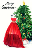 Elegant dress hanging on Christmas tree. watercolor illustration Stock Images