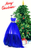 Elegant dress hanging on Christmas tree. watercolor illustration Stock Photography