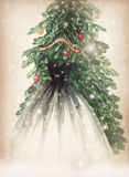 Elegant dress hanging on Christmas tree. watercolor illustration Stock Photo