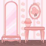 Elegant Dressing Room. Elegant Princess Pink Dressing Room vector illustration