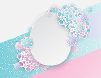 Elegant easter background with 3d paper flowers and egg. Elegant easter background with 3d paper flowers and easter egg. Holiday trendy design. Modern origami royalty free illustration