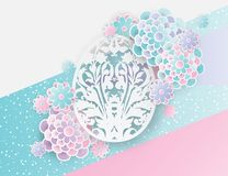Elegant easter background with 3d paper flowers and egg. Elegant easter background with 3d paper flowers and ornate easter egg with floral motifs. Holiday trendy Royalty Free Stock Photo