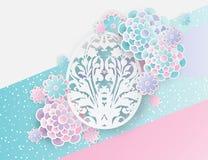 Elegant easter background with 3d paper flowers and egg. Elegant easter background with 3d paper flowers and ornate easter egg with floral motifs. Holiday trendy stock illustration