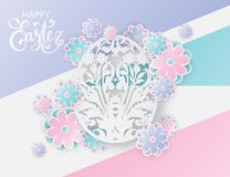 Elegant easter background with 3d paper flowers and egg. Elegant easter background with 3d paper flowers and ornate easter egg with floral motifs. Holiday trendy Royalty Free Stock Photos