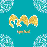 Elegant Easter background in gold and blue Royalty Free Stock Photography