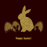 Elegant Easter background with gold bunny and eggs on black Royalty Free Stock Photos