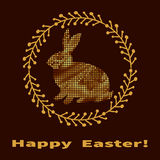 Elegant Easter frame in gold. Easter rabbit silhouette Royalty Free Stock Photo