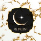 Elegant eid festival greeting design with moon and star. Illustration Stock Image