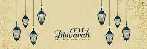 Elegant eid mubarak lamps decoration banner. Vector vector illustration