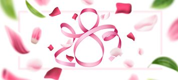 Vector 8 of march eight silk ribbon number. Elegant eight number 8 for international women day, 8 of march holiday on blurred flower petal background. Silk vector illustration