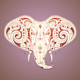 Elegant elephant illustration. Elephant shape tattoo with ethnic design elements Royalty Free Stock Photos