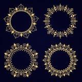Gold decorative frame. Vector logo templates. The past. Monogram, initials, jewelry. Set of border. stock illustration