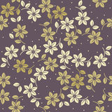 Elegant endless pattern with decorative flowers and leaves Royalty Free Stock Photo