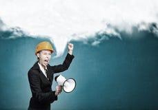 Elegant engineer woman . Mixed media Stock Photos