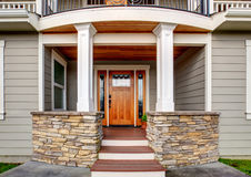 Elegant entrance to large american home. Royalty Free Stock Photo