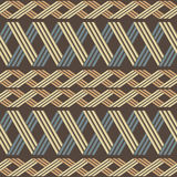 Elegant ethnic seamless pattern with horizontal pigtails. Wicker lattice of intersecting stripes. Rustic style print in brown, yellow, blue, orange colors Royalty Free Stock Photos