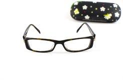 Elegant eyeglasses. And case on white background Stock Image