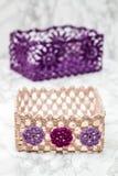 Elegant färgrik virkningkorg Royaltyfri Foto