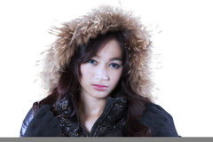 Elegant face of girl in winter jacket Stock Photo