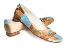 Elegant fashinable flat shoes isolated on white Royalty Free Stock Images