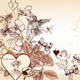 Elegant  fashion background with valentines and roses in v Stock Photos