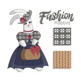 Elegant Fashion bunny rabit in blue dress on a white background. Hand lettering. Set of seamless patterns royalty free illustration