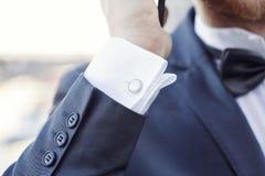 Elegant fashion cufflinks Royalty Free Stock Photo