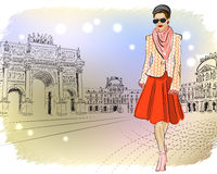 Elegant Fashion girl in Paris Royalty Free Stock Image