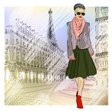 Elegant Fashion girl in sunglasses on the street  Royalty Free Stock Photo