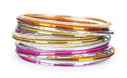 Elegant and fashion golden bracelets Stock Photo