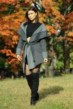 Elegant fashion model posing pretty in the park. Elegant fashion model posing pretty in the park with colorful autumn trees on the background Stock Photo