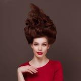 Elegant, fashion portrait beautiful young woman. Elegant, fashion portrait beautiful young woman with professional hairs Stock Photography
