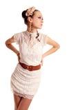Elegant fashion style model portrait in dress Stock Photos