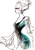 Elegant Fashion Woman. Fashion sketch of a sexy woman wearing formal gown and luxurious makeup and jewelry Stock Photos