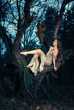 Elegant fashion woman in forest Royalty Free Stock Image
