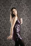 Elegant fashion woman sequins dress wallpaper Royalty Free Stock Photo