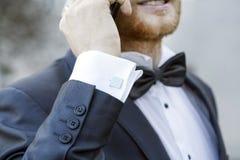 Elegant fashionable cufflink Royalty Free Stock Image