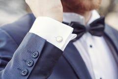 Elegant fashionable cufflink Stock Image