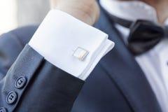 Elegant fashionable cufflinks Stock Photos