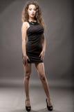 Elegant fashionable woman in black dress Royalty Free Stock Image