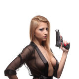 Elegant fashionable woman with a gun in hands Stock Photos
