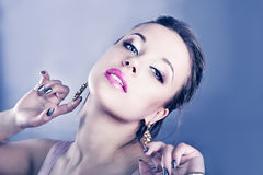 Elegant fashionable woman with  jewelry Stock Image