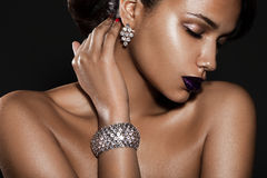 Elegant fashionable woman. With jewelry Royalty Free Stock Photos