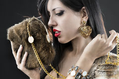 Elegant fashionable woman with jewelry Royalty Free Stock Photos