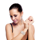 Elegant Fashionable Woman With Silver Jewelry Royalty Free Stock Photos