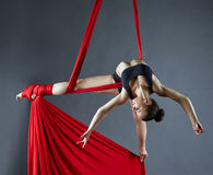 Elegant female dance posing on aerial silks Royalty Free Stock Photo