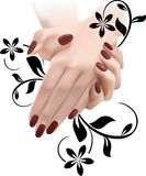 Elegant female hands in floral ornament Stock Images