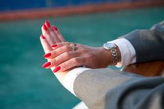 Elegant female hands with Red manicure Royalty Free Stock Image