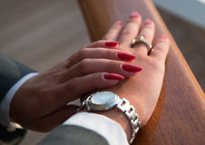 Elegant female hands with Red manicure Royalty Free Stock Photo