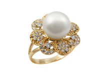 Elegant female jewelry ring with pearl Royalty Free Stock Image